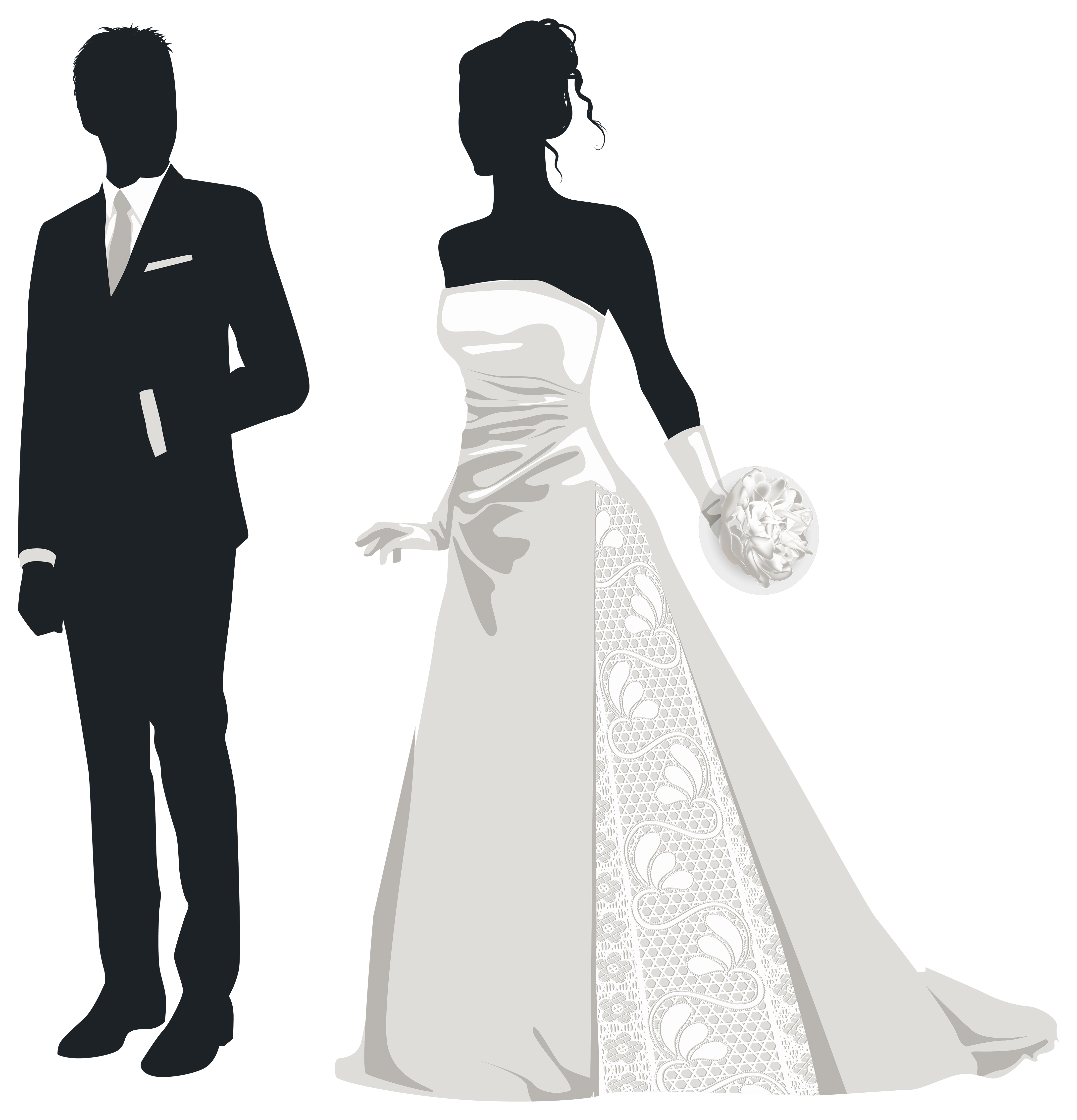 Groom clipart. Bride and silhouettes png