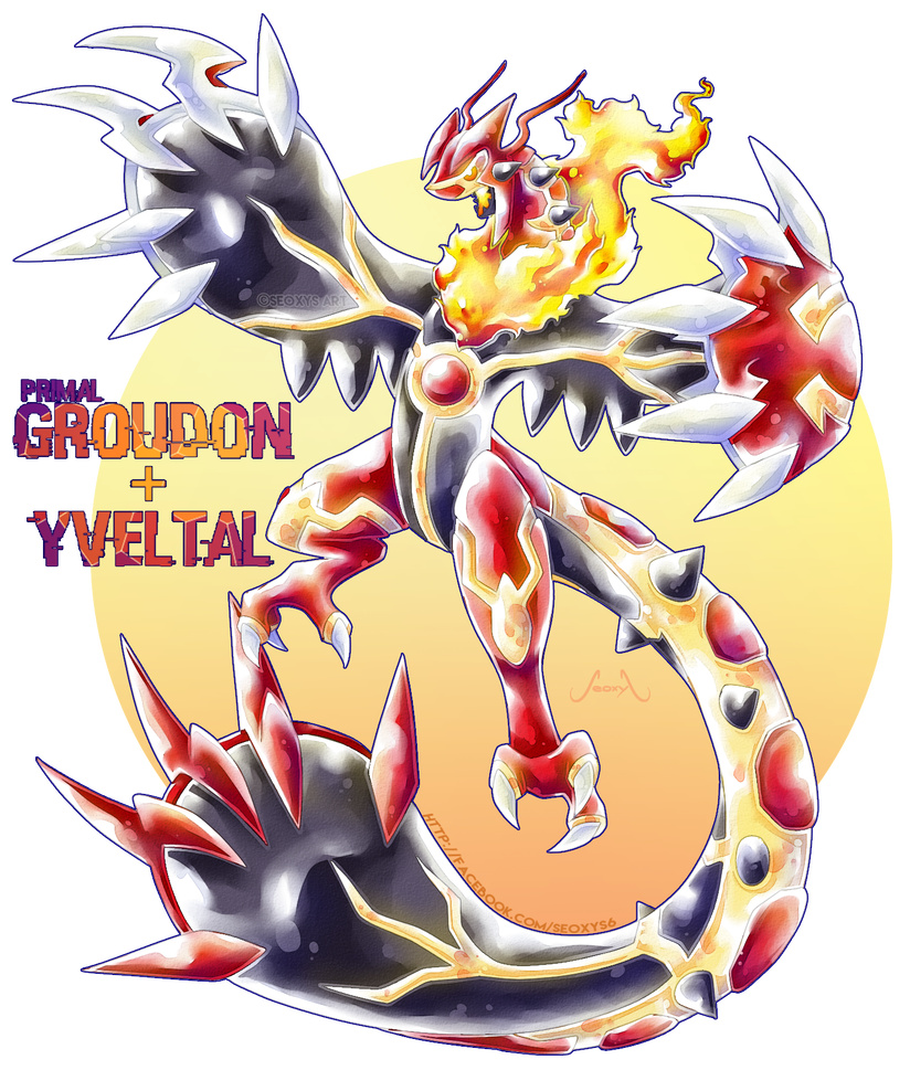 Groudon drawing scary. Primal x yveltal by