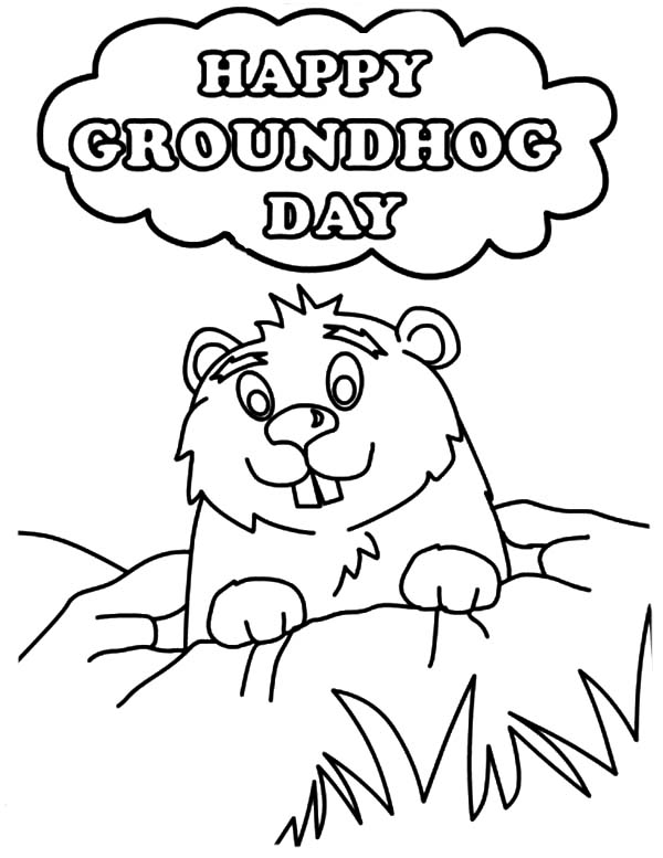Groundhog clipart coloring page. Unique day pages