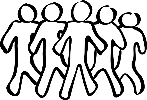 Team clipart team role. Group of people black