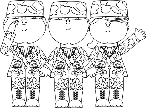 Group clipart black and white. Of soldiers clip art