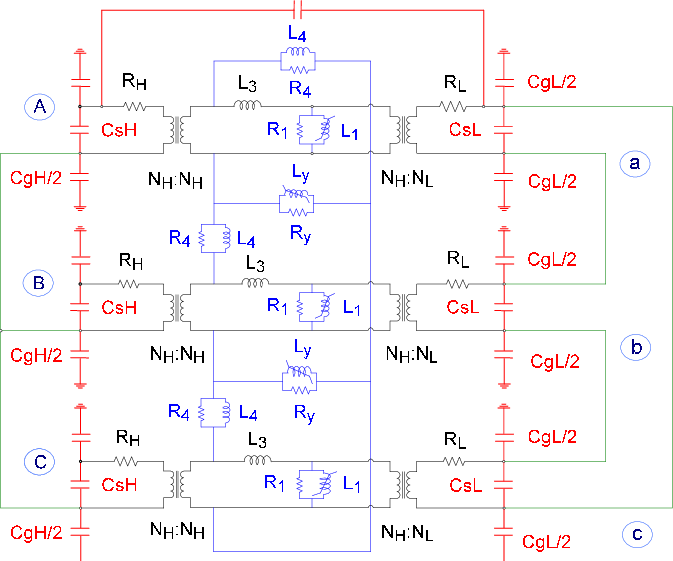 Vector power electrical transformer. Duality based equivalent circuit