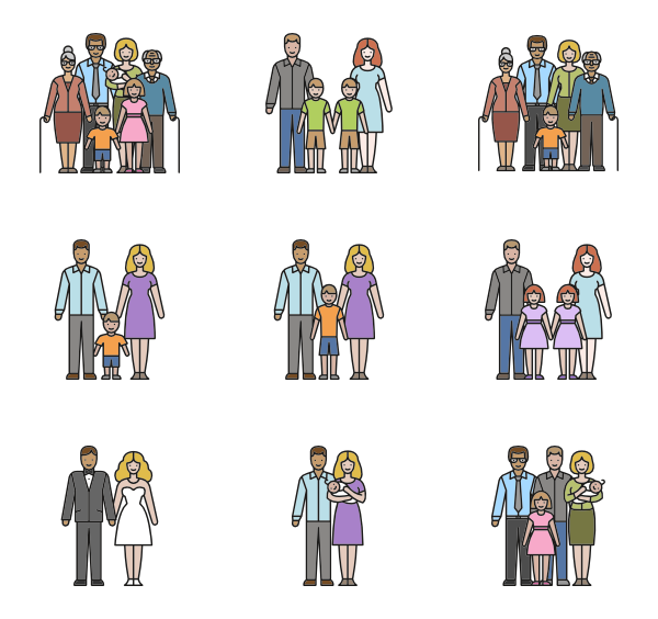 Group vector family. Parents icons free linear