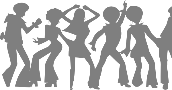 Group vector shadow. Disco orange clip art