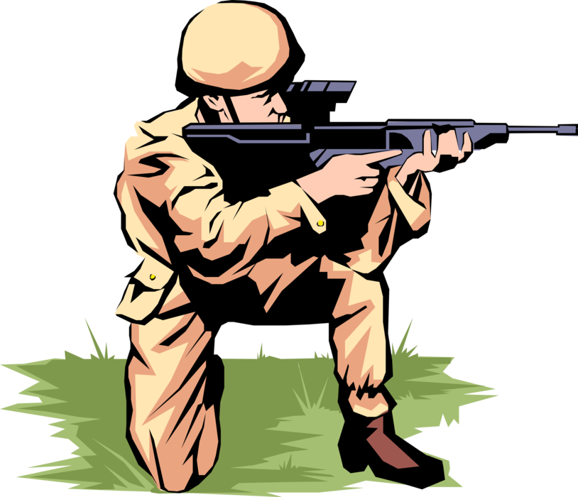 Vector shot energizer. Soldier fires automatic weapon