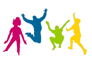 Group vector youth. Children playing clip art