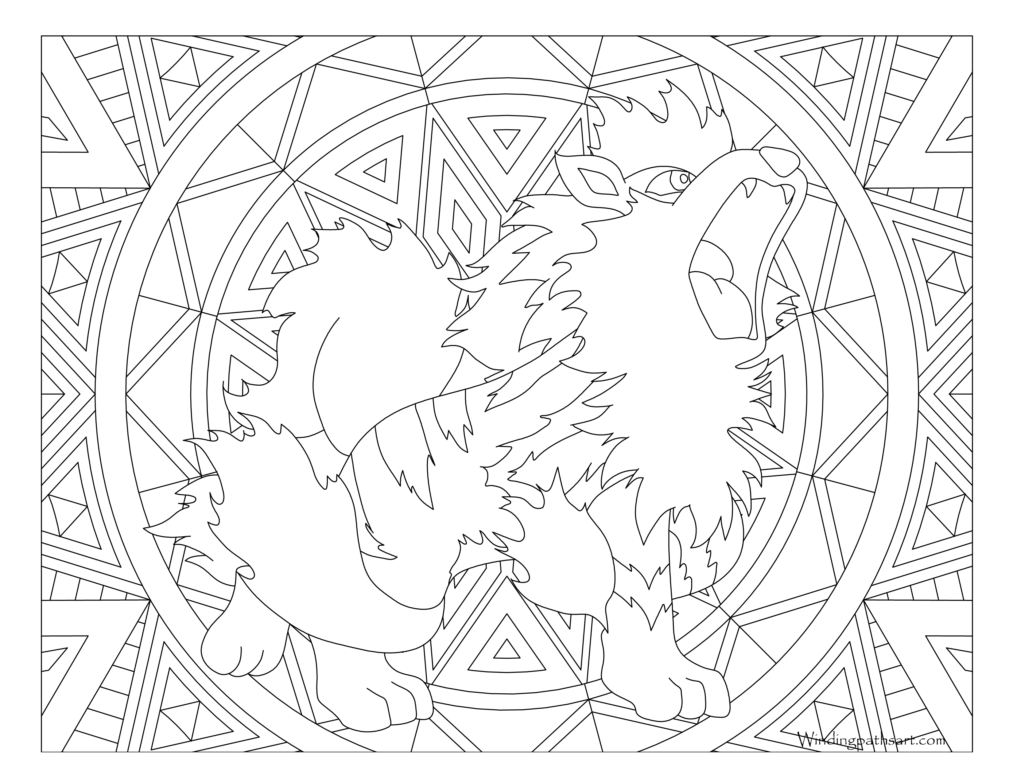 Growlithe drawing transparent. Arcanine lineart coloring