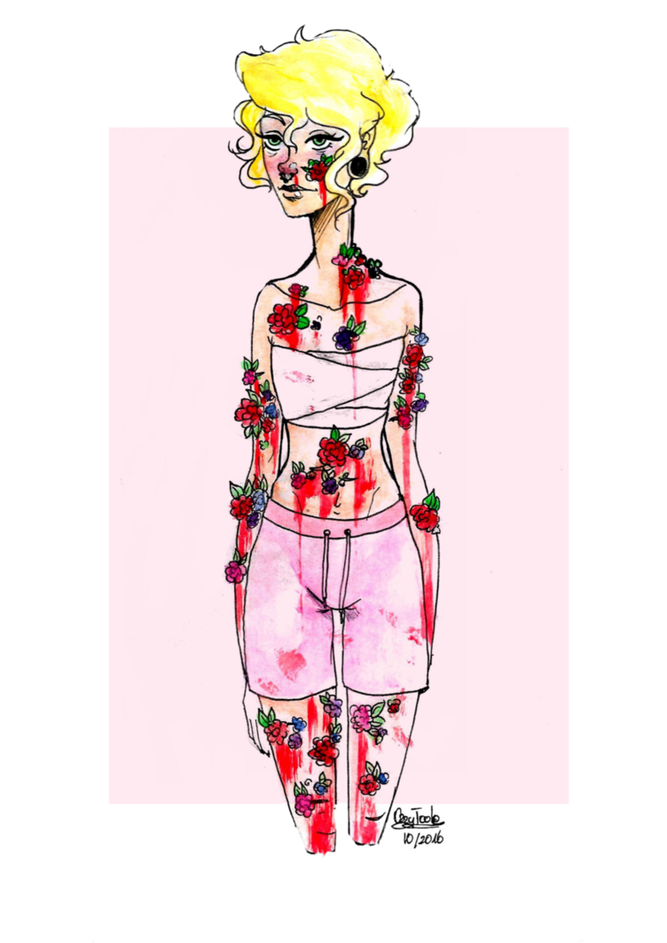 Growth drawing creepy. Goretober plant in body