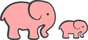 Growth drawing elephant. Pink mom crafts for