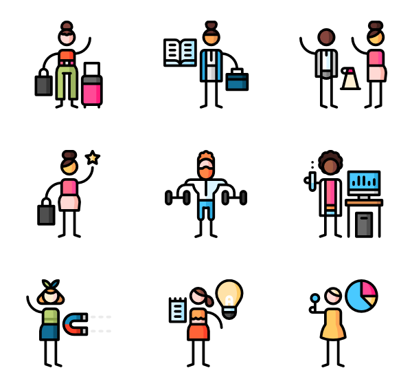 Growth vector business. People icon packs
