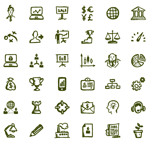 Growth vector icon business. Busy icons hand drawn
