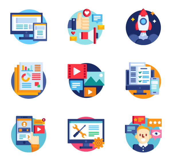Growth vector stage. Icons free marketing and