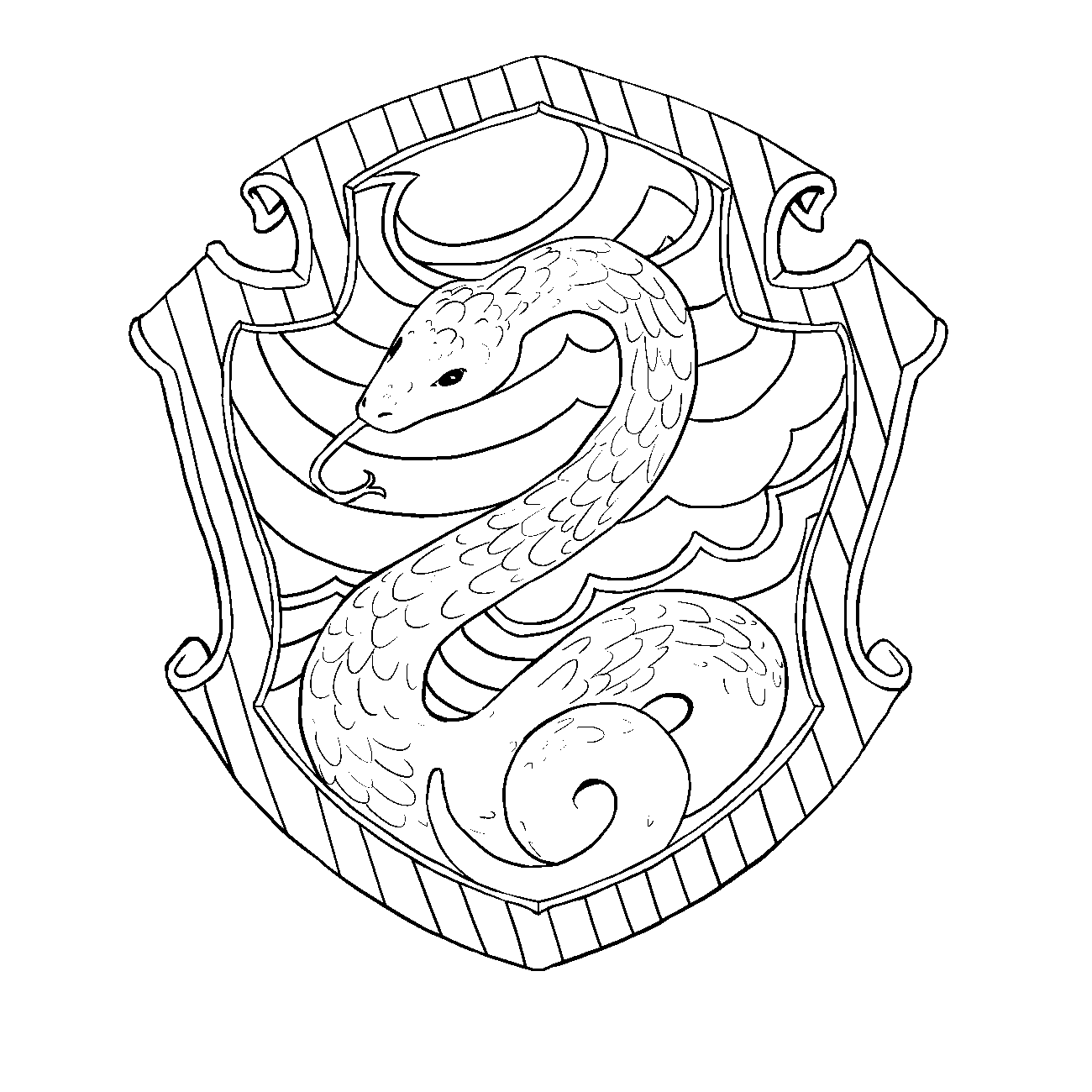 Slytherin drawing ravenclaw. Hufflepuff crest pottermore coloring