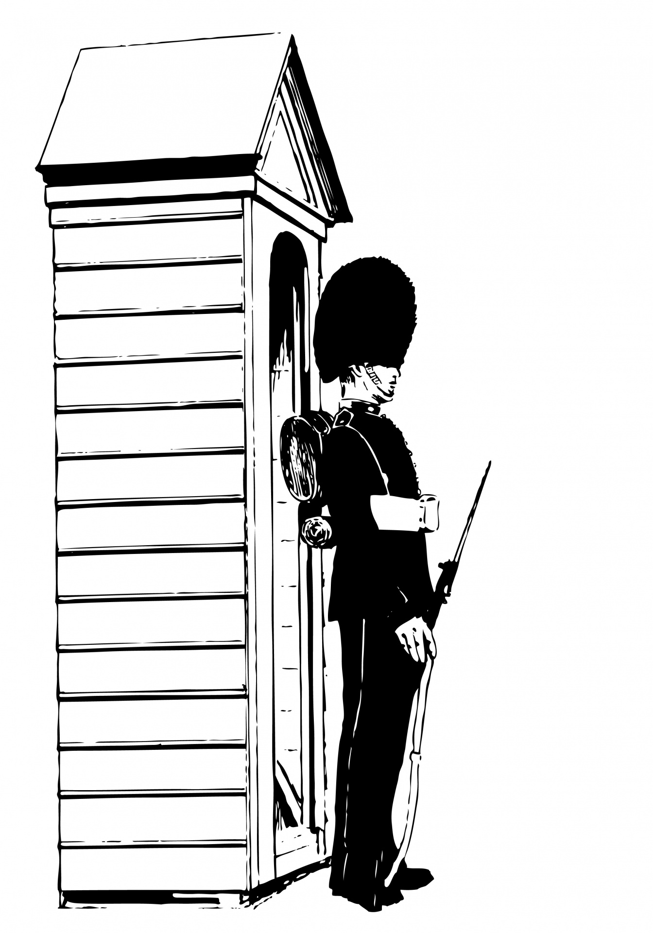 Sentry illustration free stock. Guard clipart image black and white download