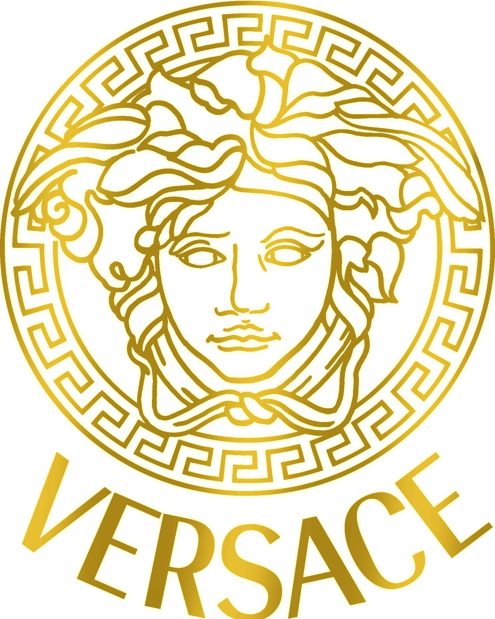 Gucci logo gold png. Versace for their bags