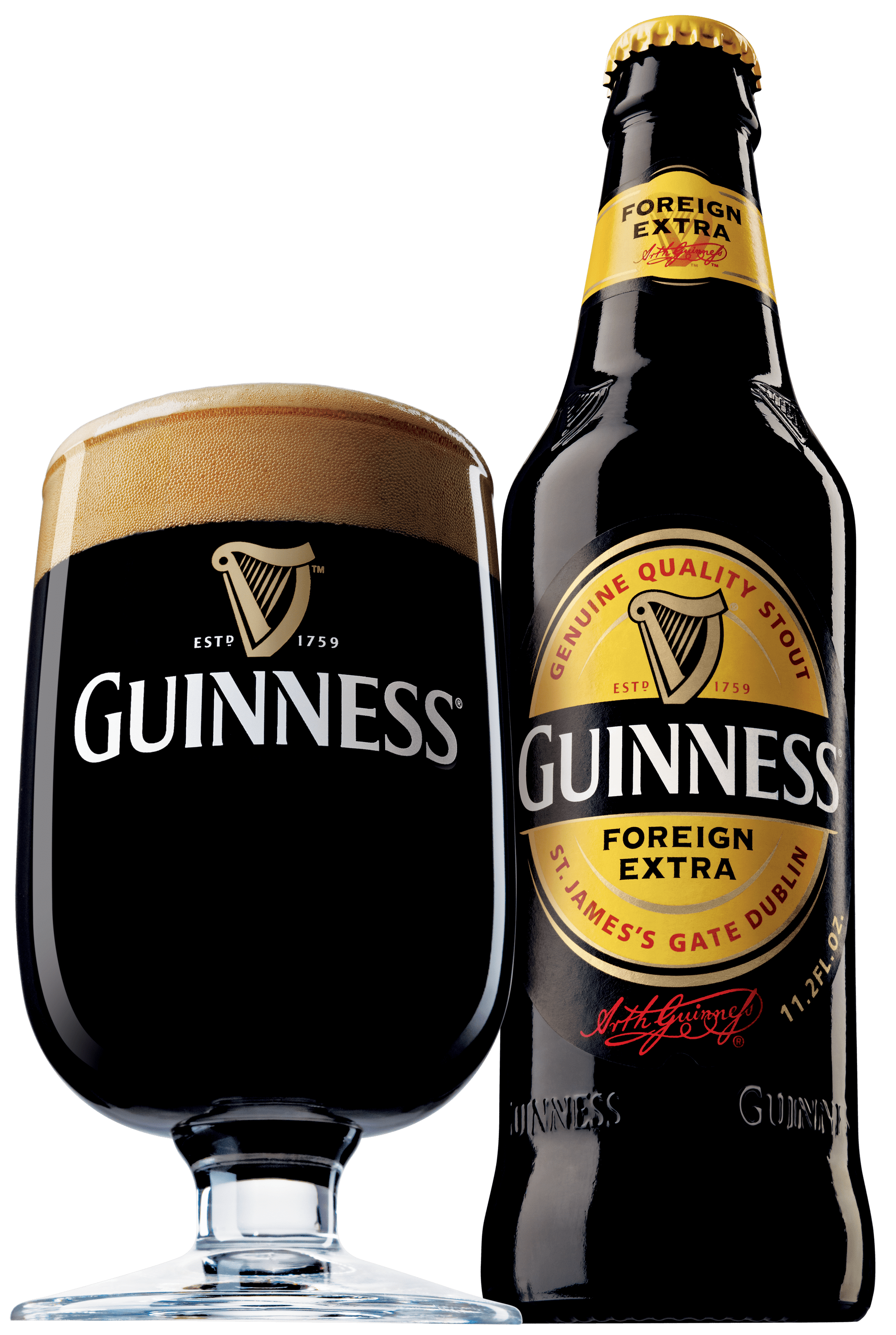 Guinness bottle png. Foreign extra and glass