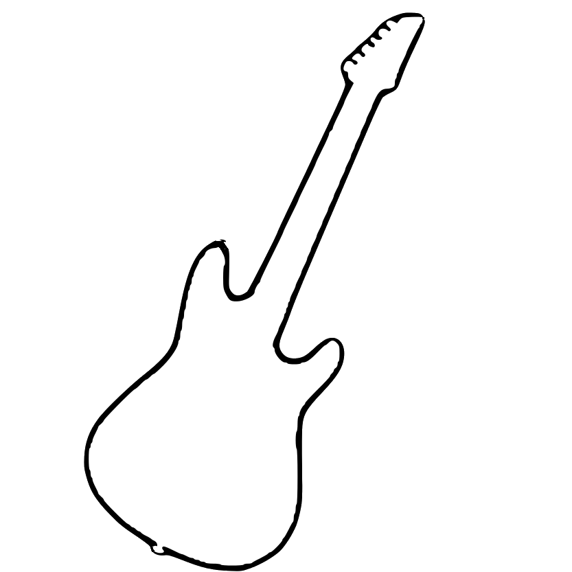 Guitar black and white png. String instruments electric clip