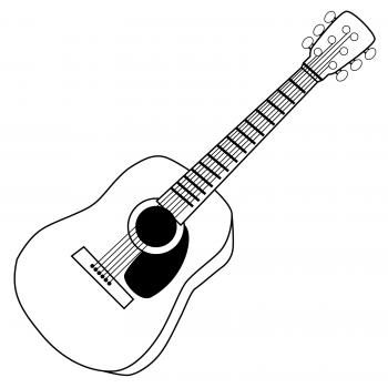 Guitar clipart guiter. Black and white fancy