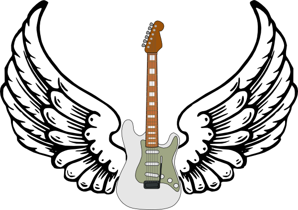 Guitar clipart heart. Stratocaster with wings clip