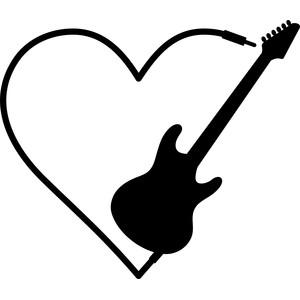 Guitar clipart heart. Silhouette bass at getdrawings