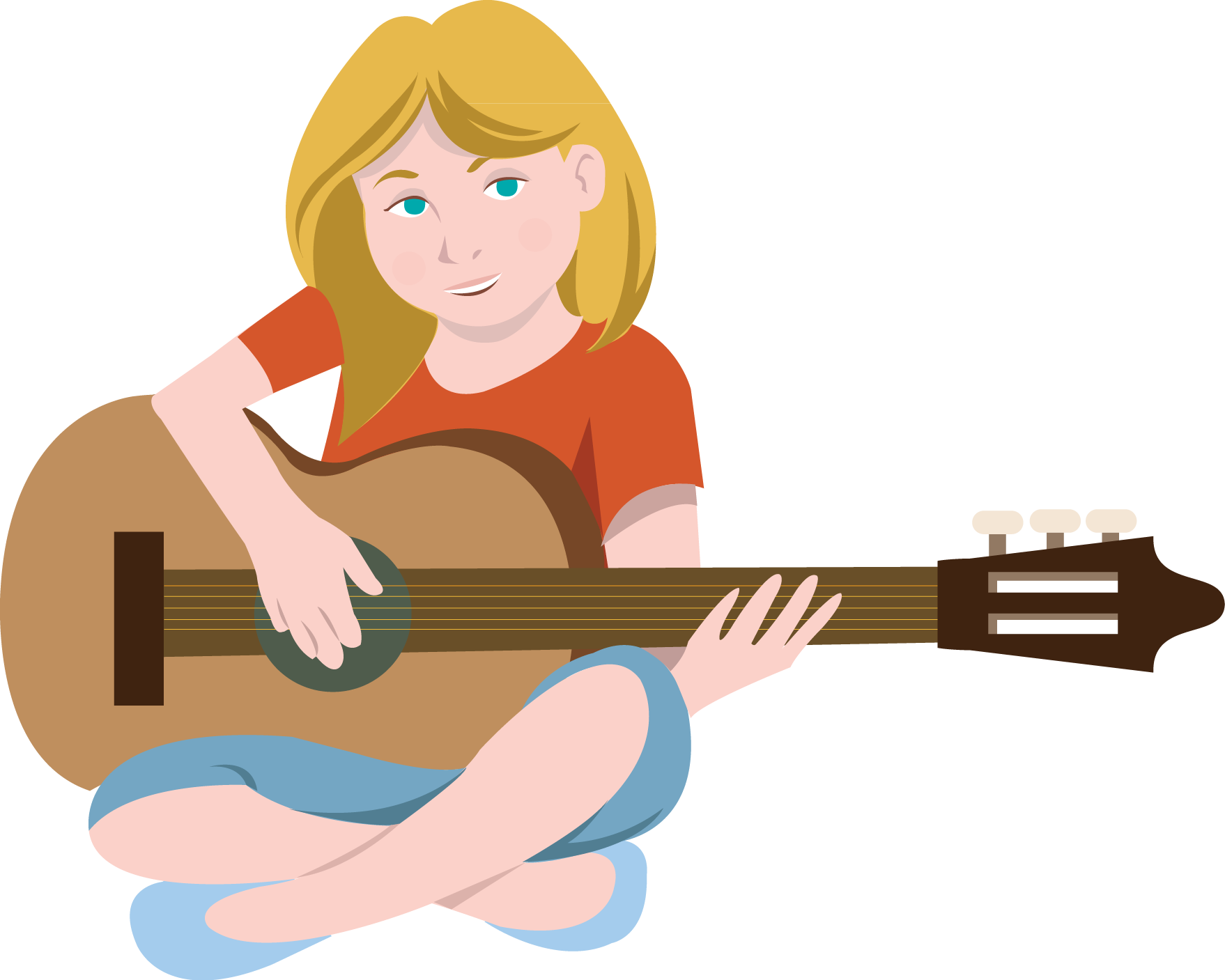 Woman clipart guitar. Female