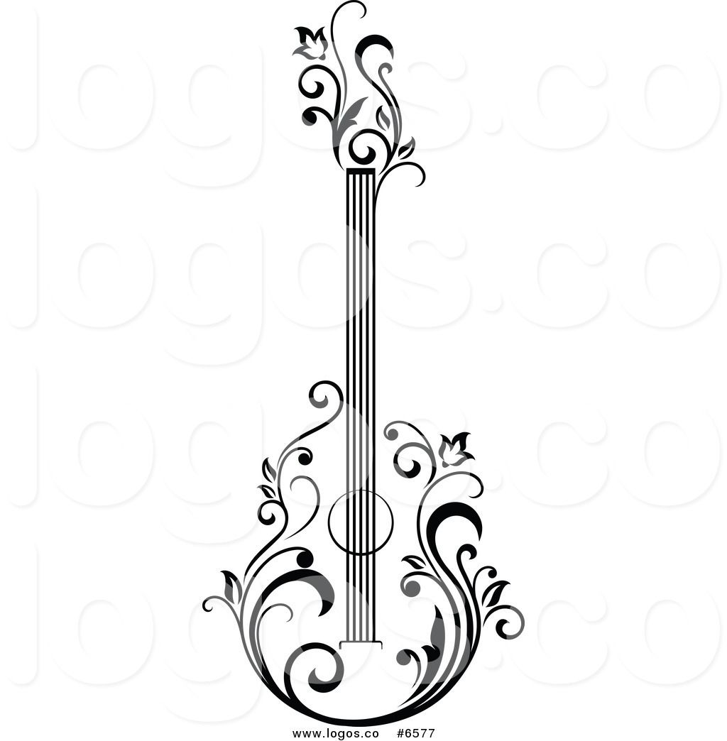Black and white acoustic. Guitar clipart violin royalty free stock