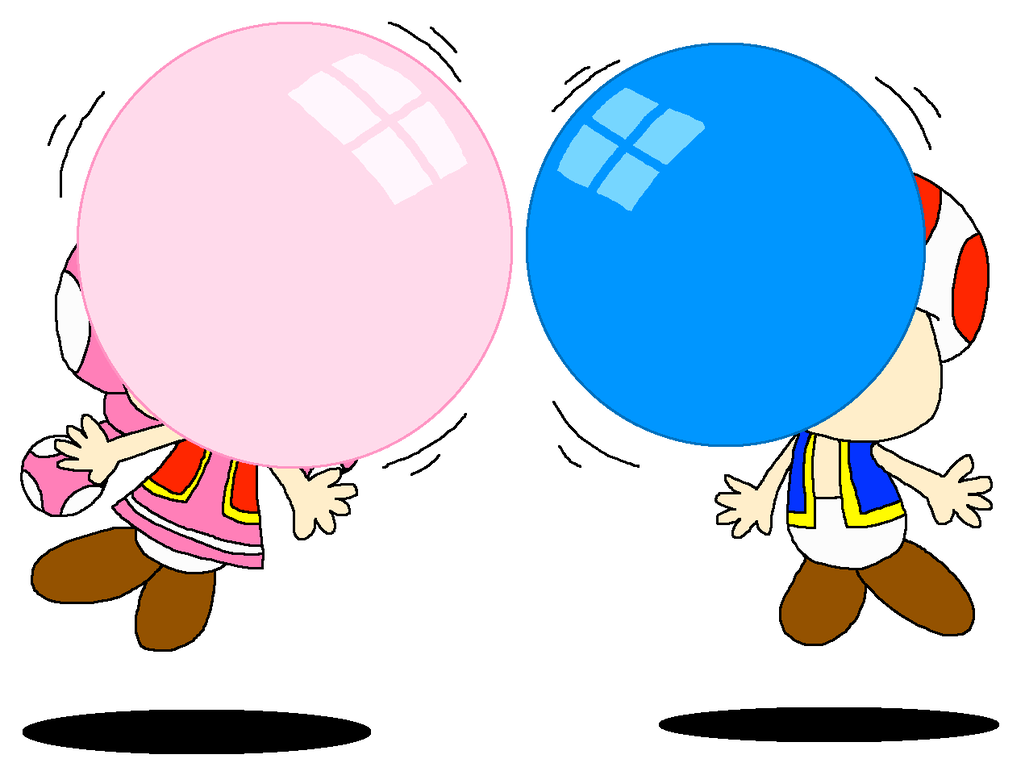 Gum drawing blowing bubble. Toad and toadette air