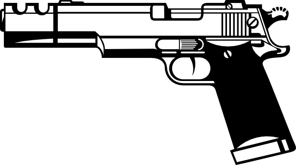 black and white handgun png
