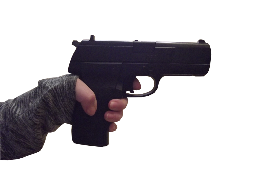 Gun in hand png. Female stock ring and