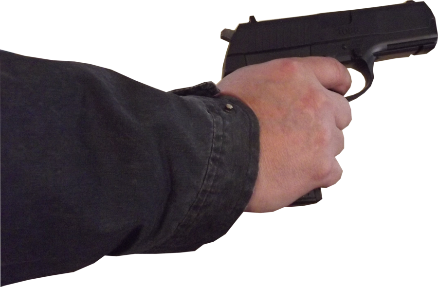 Gun in hand png. Male stock pose with