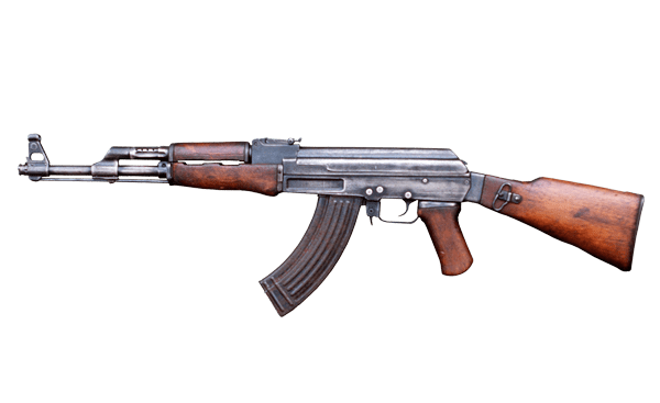 Transparent rifle. Ak gun background