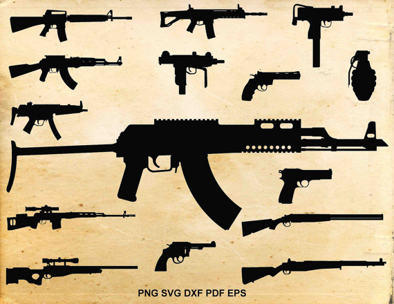 Guns clipart. Gun svg files weapons