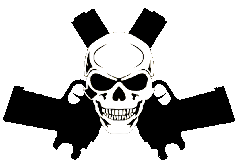 Guns clipart. Skull in cut free
