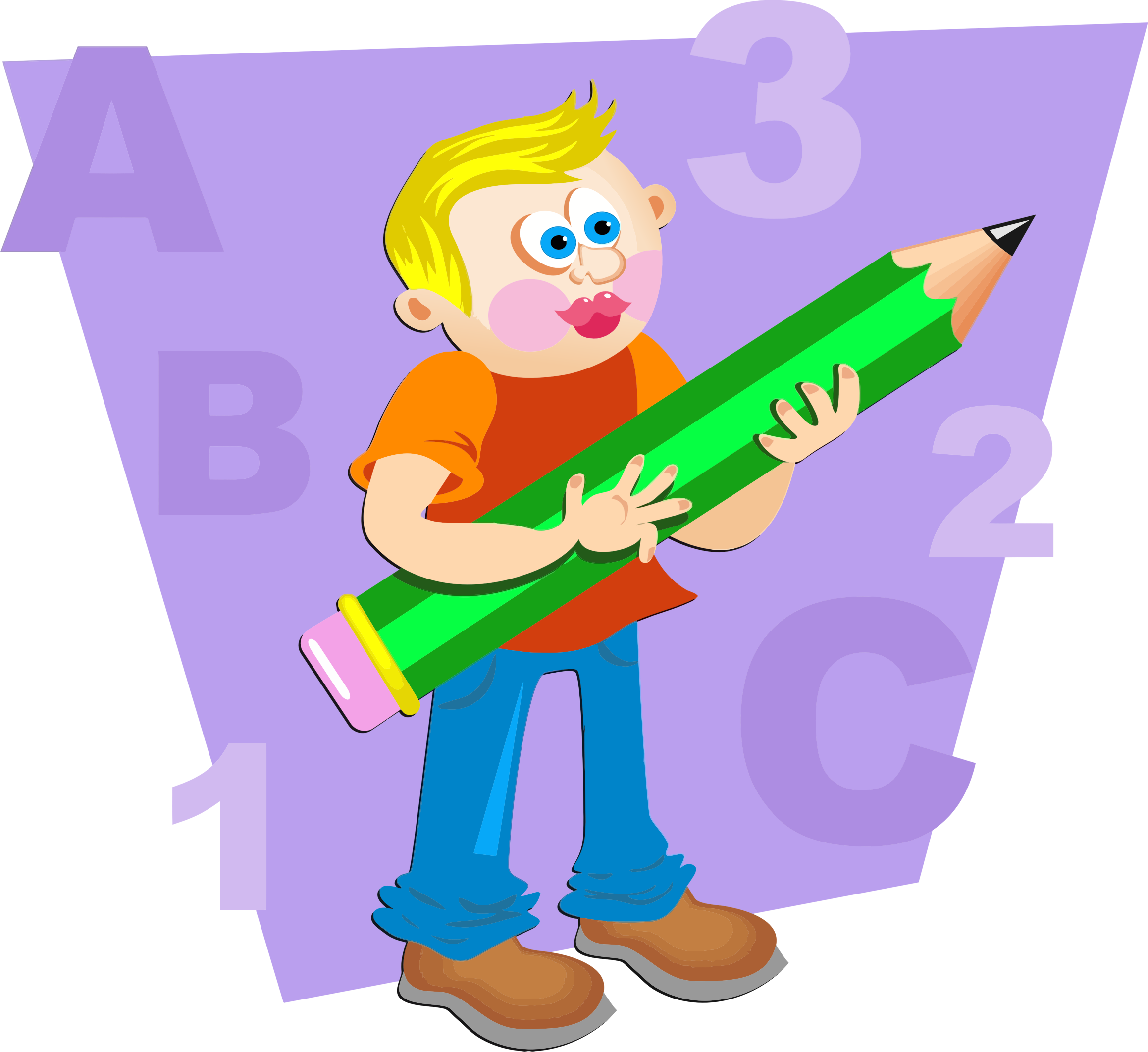 Guns clipart boy. With giant pencil big