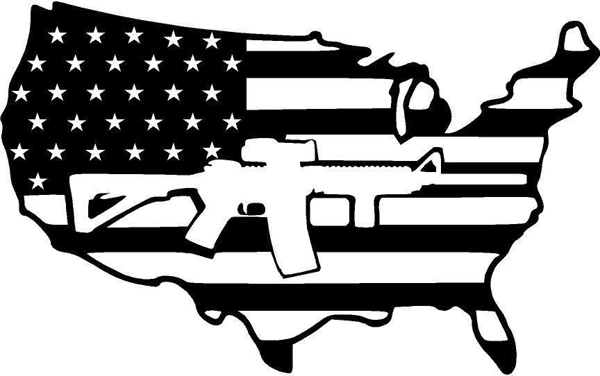 Guns clipart flag. Usa with ar silhouette