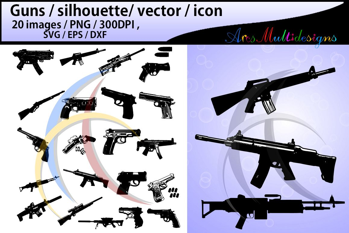 Guns clipart svg. Gun silhouette design bundles