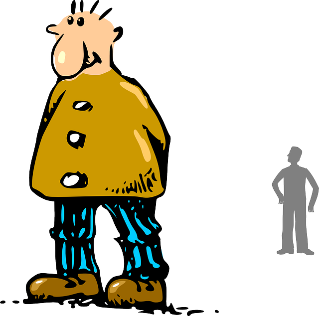 Guy clipart big person. Slim small people man