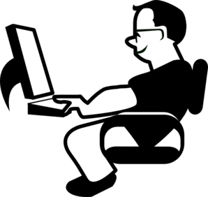 Computers drawing man. Using computer clip art