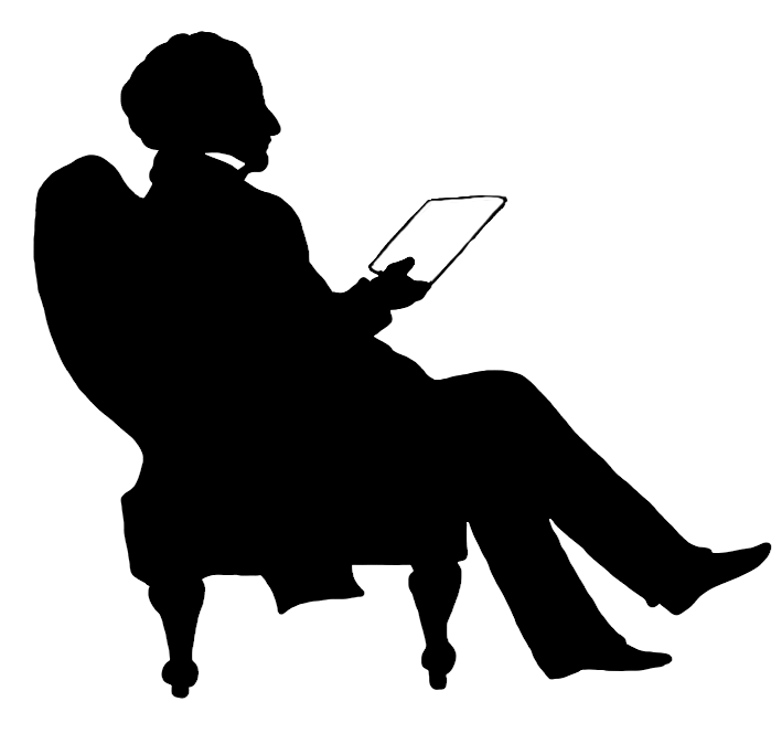 Guy clipart silhouette. Reading book der sketch