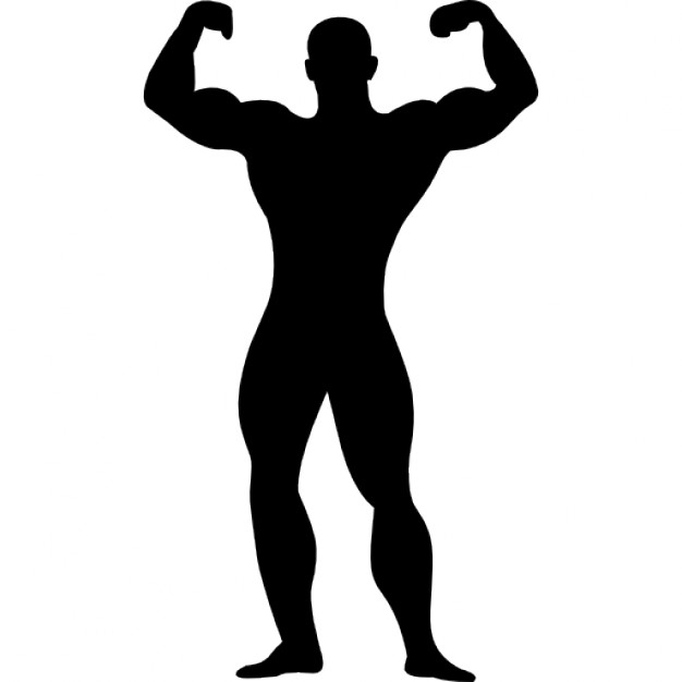 Guy clipart silhouette. Muscular man flexing icons