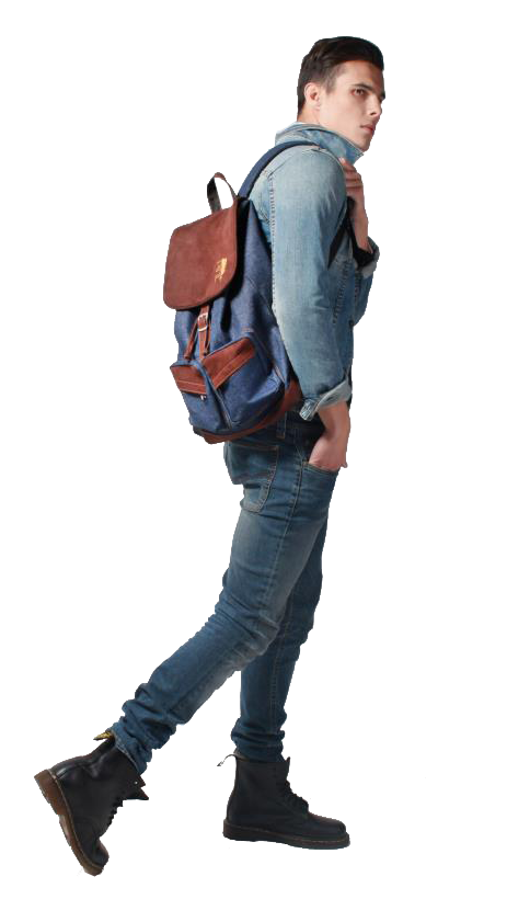 Guy walking png. Backpack jeans outfit man