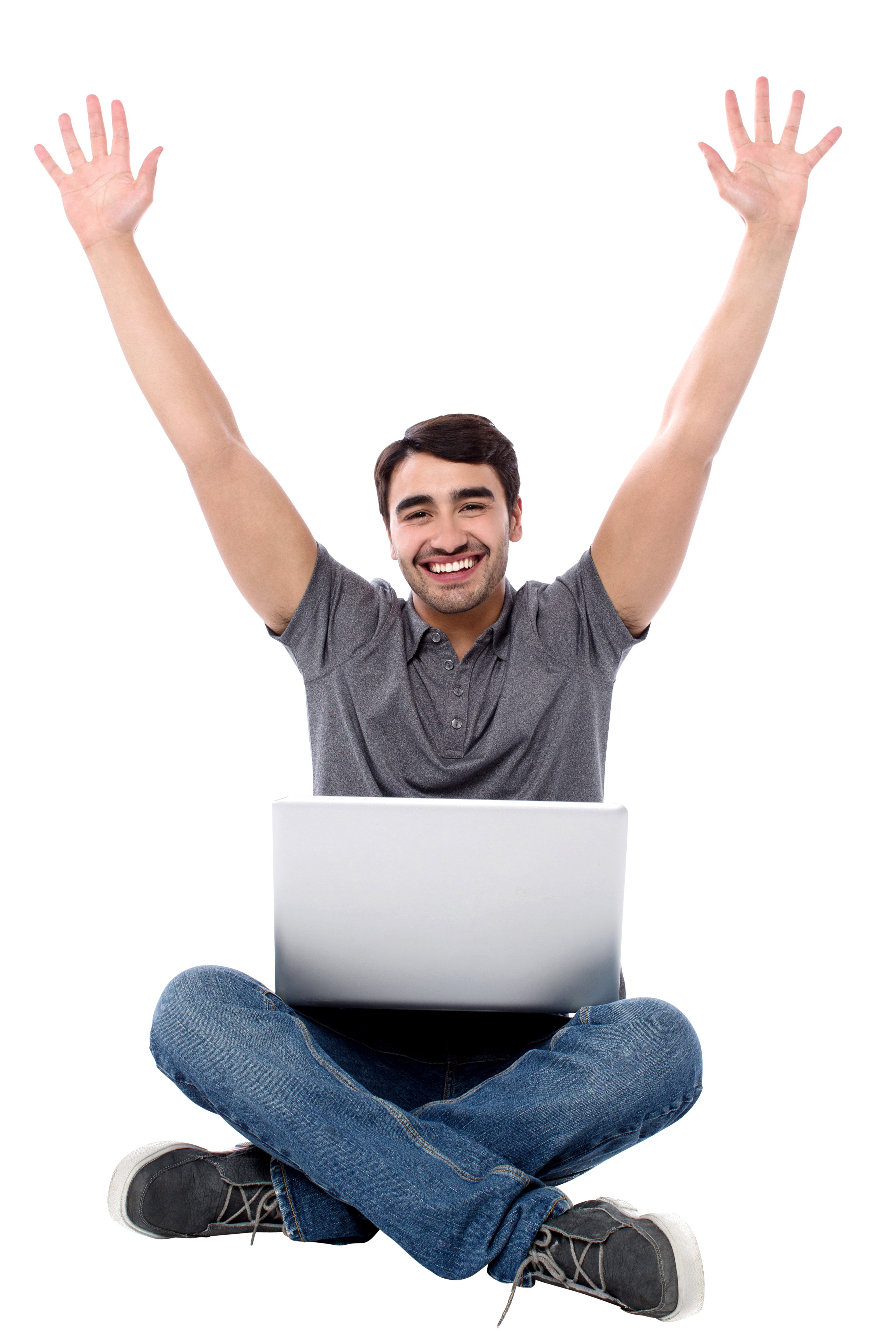 Guy sitting png arms up. Happy men image purepng