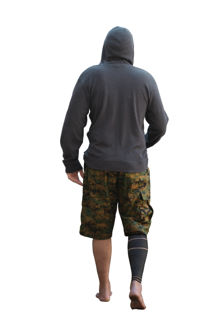 Guy walking png. Back of in hoodie