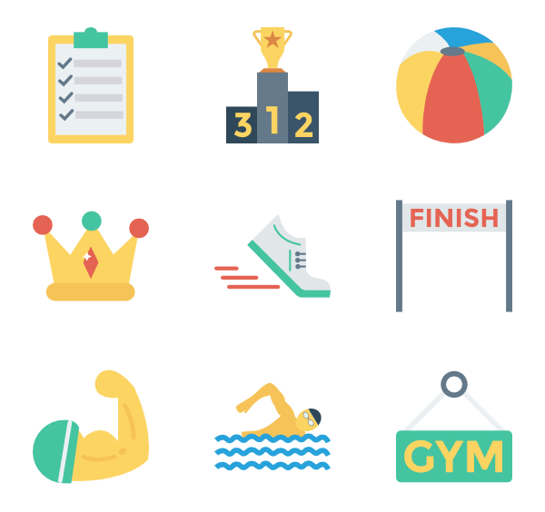 Strength vector. Icons free sports fitness