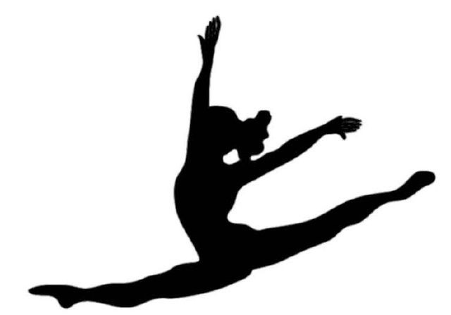 Gymnast clipart air. Gymnastics black and white