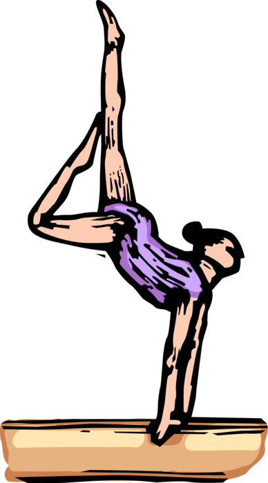 Gymnast vector balance beam clipart. Performs on image illustration
