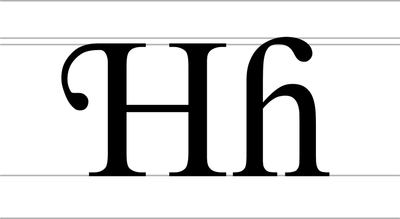 H transparent capital. File with hook uppercase