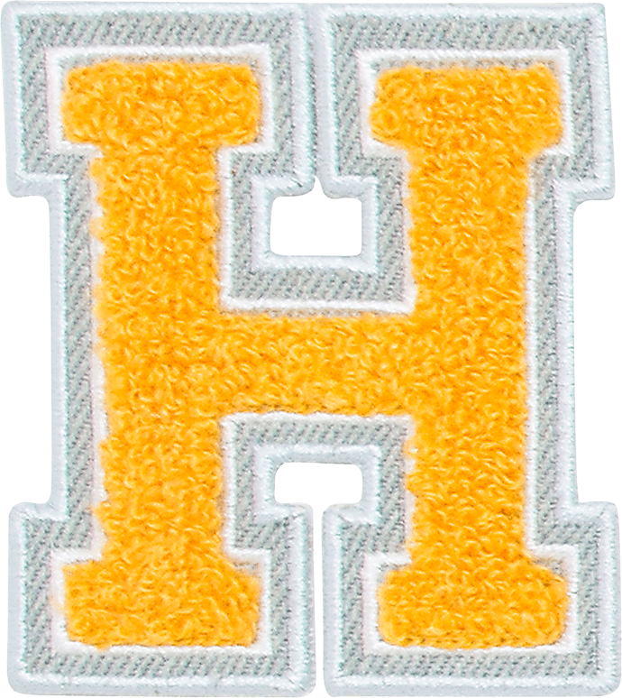 H transparent yellow. Varsity letter patches stoney