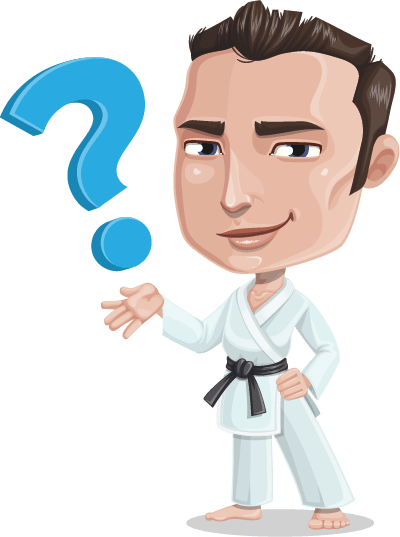Male vector flat. Handsome karate man character