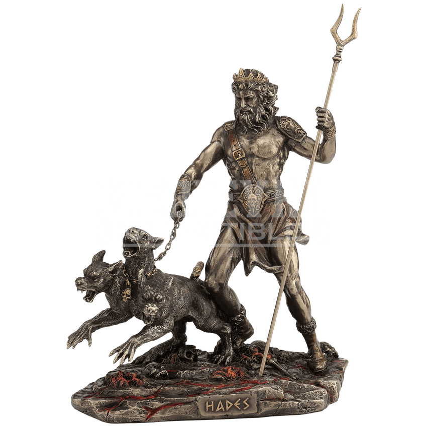 Hades statue png. With bident and cerberus